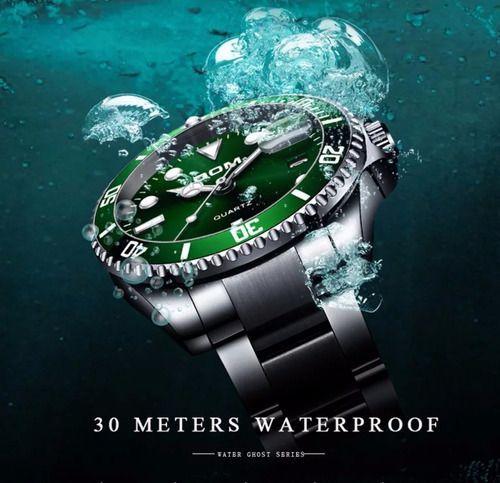 Relógio Dom Submariner Original Quartzo Prata Prova D' Água