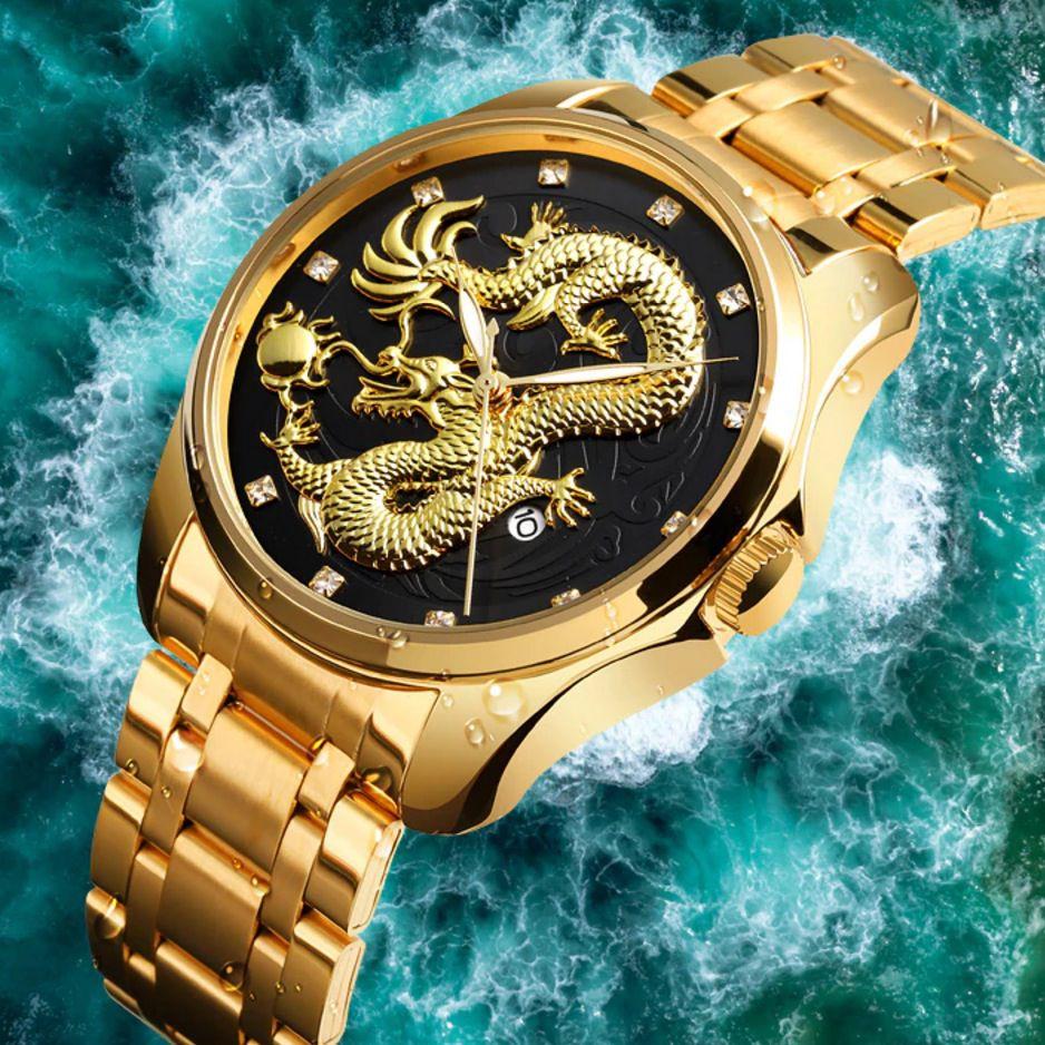 Relógio Dragão 3d Skeleton Quartzo Calendário Prova D` Agua