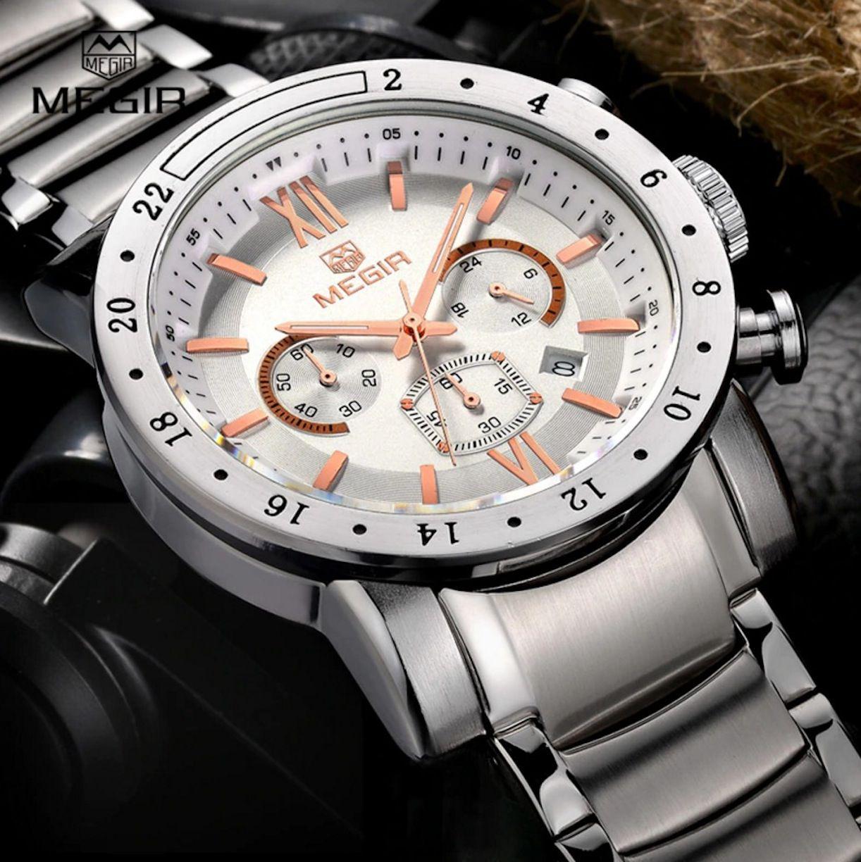 Relógio Executivo Masculino Megir Original Fundo Branco 3008