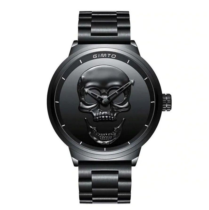Relógio Masculino 3d Gimto Skull Caveira Black Ginto Preto