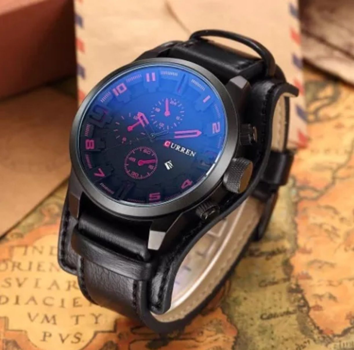 Relógio Masculino Curren 8225 Original Preto Bisel Vermelho