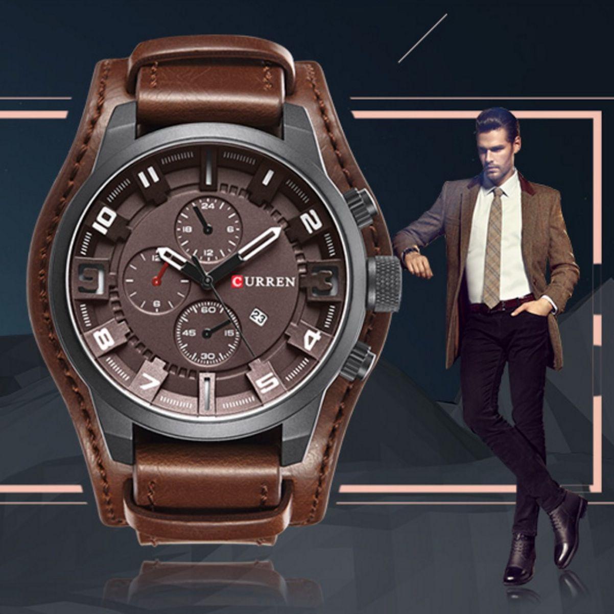 Relógio Masculino Curren Original Couro Certificado Garantia