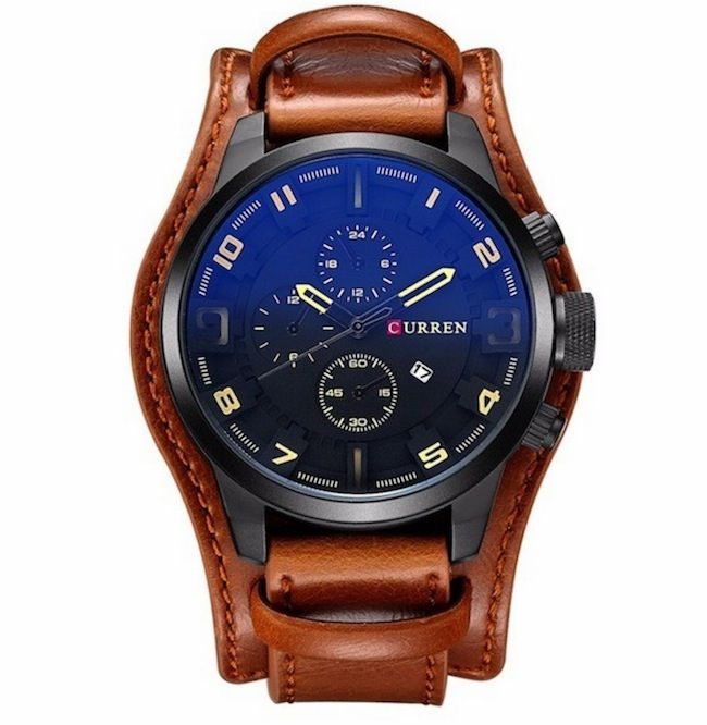Relógio Masculino Curren Original Militar Couro 8225 marrom