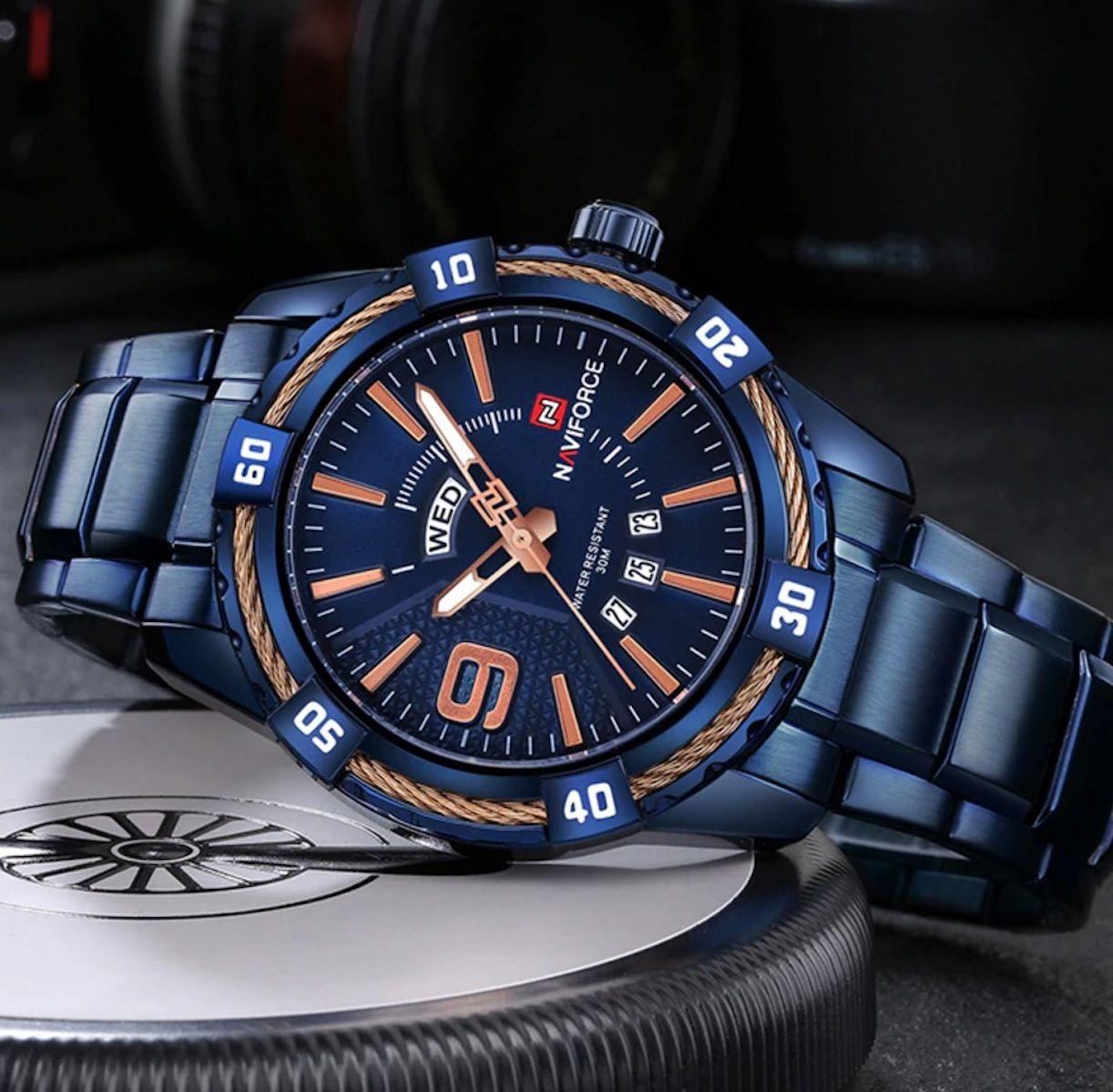 Relógio Masculino Luxo Naviforce Original Azul Preto Dourado