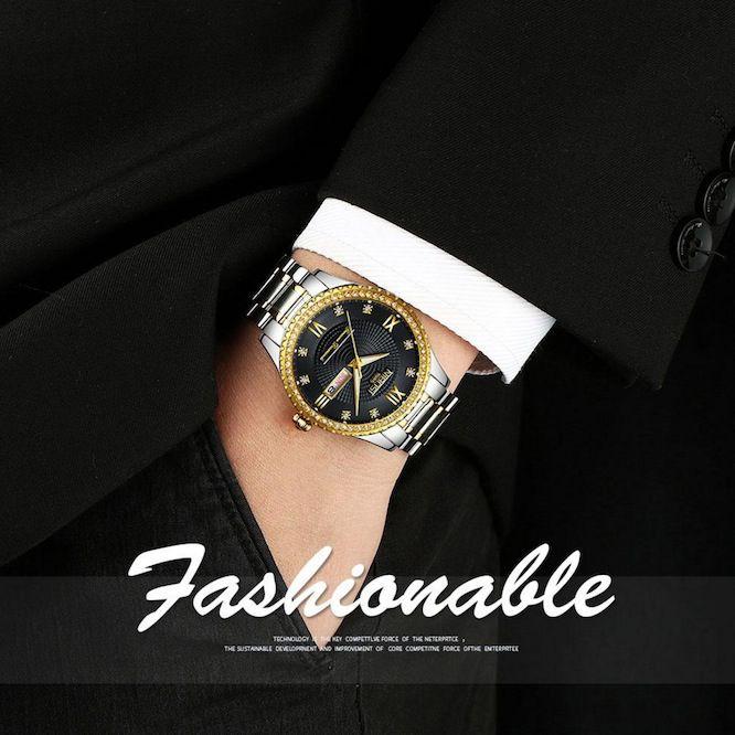 Relógio Masculino Luxo Suiço Nibosi 1985 Blindado Cravejado