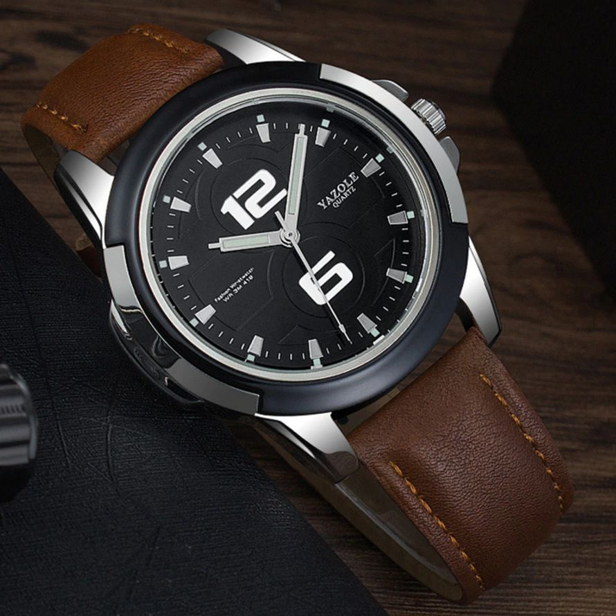 Relógio Masculino Luxo Vintage Elegante Suiço Couro Legítimo