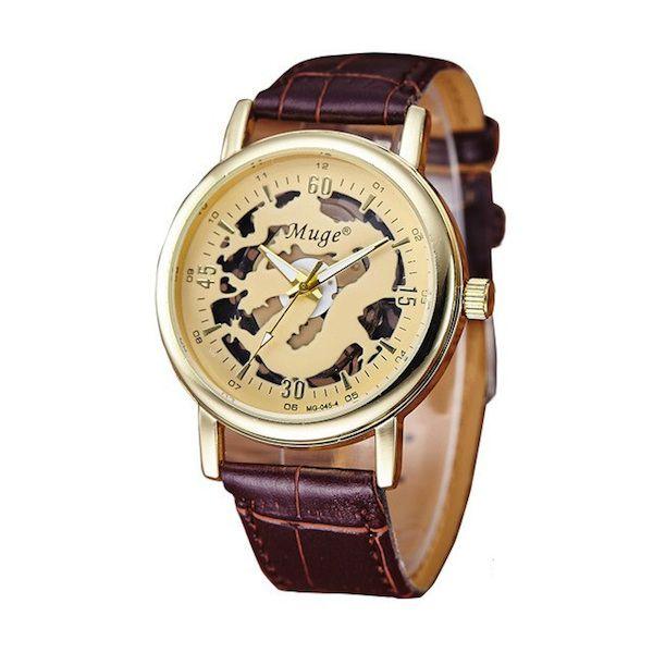 Relógio Masculino Muge Dragon Esqueleto Dourado Original