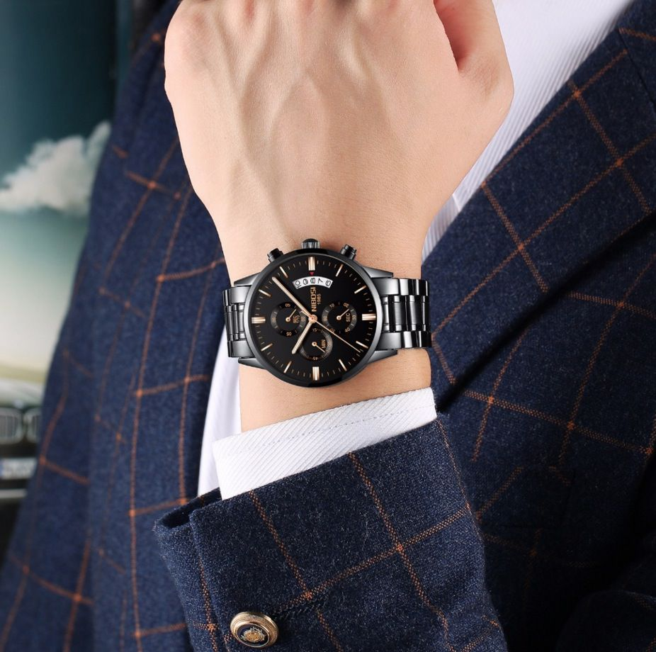 Relógio Masculino Suiço Nibosi Original Cronógrafo Preto Nfe