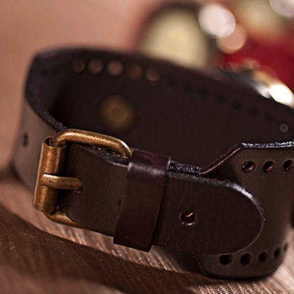 Relógio Masculino Top Vintage pulseira de couro estiloso