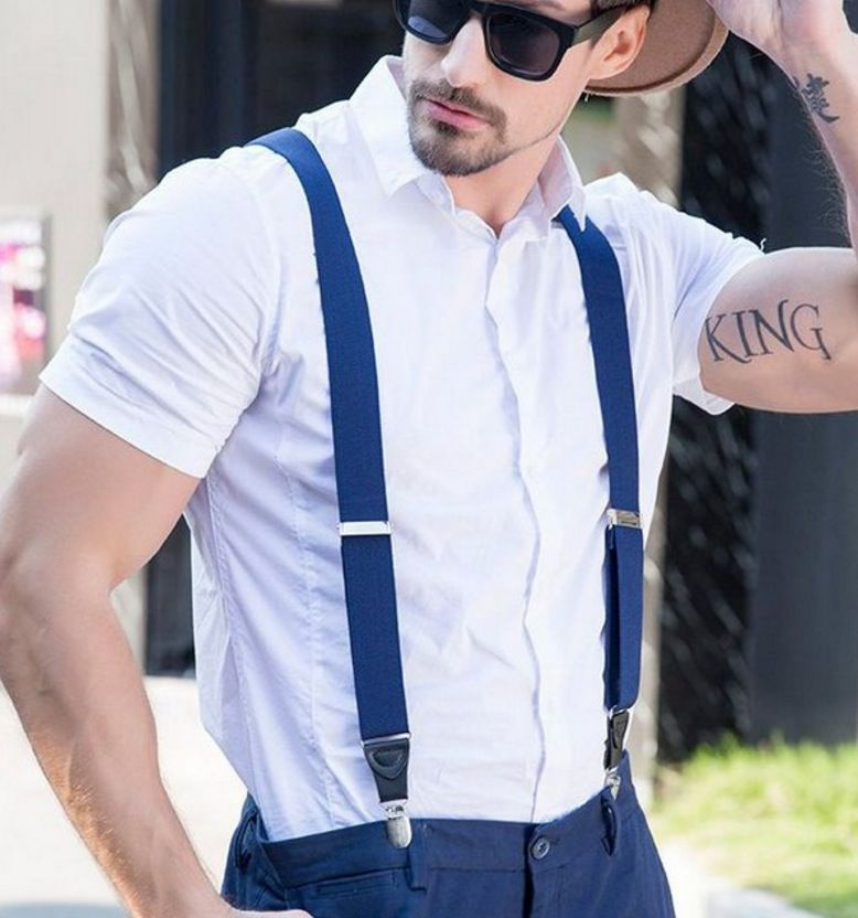 Suspensório Executivo Social Masculino Azul Marinho Cinta Elástico