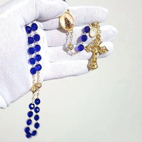 Terço Nossa Senhora Aparecida Cristal Azul Facetados Ouro
