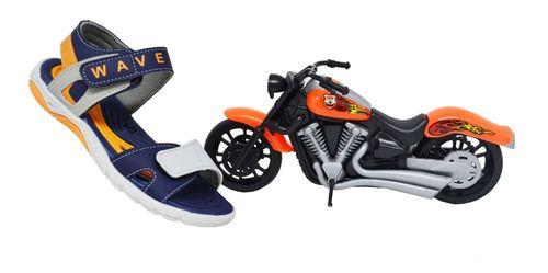Sandália Infantil Menino Kidy Wave Com Moto - Azul/cinza
