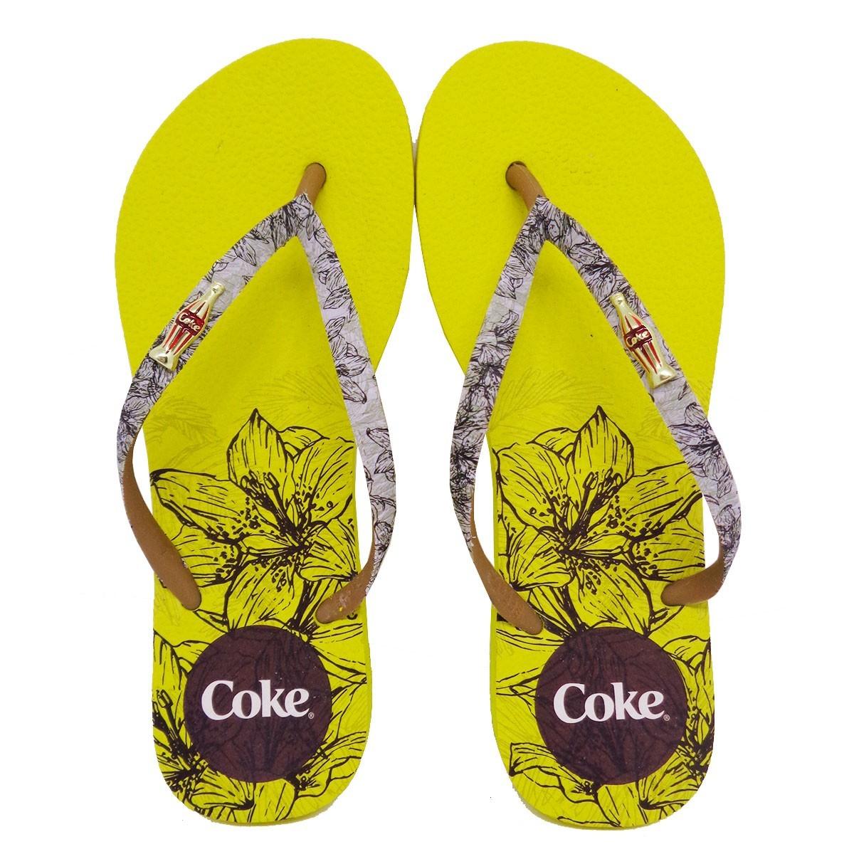 Chinelo de Dedo Feminino Coca Cola Sketch Florals CC3072