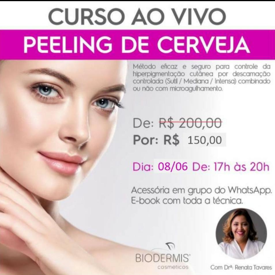 CURSO AO VIVO PEELING DE CERVEJA