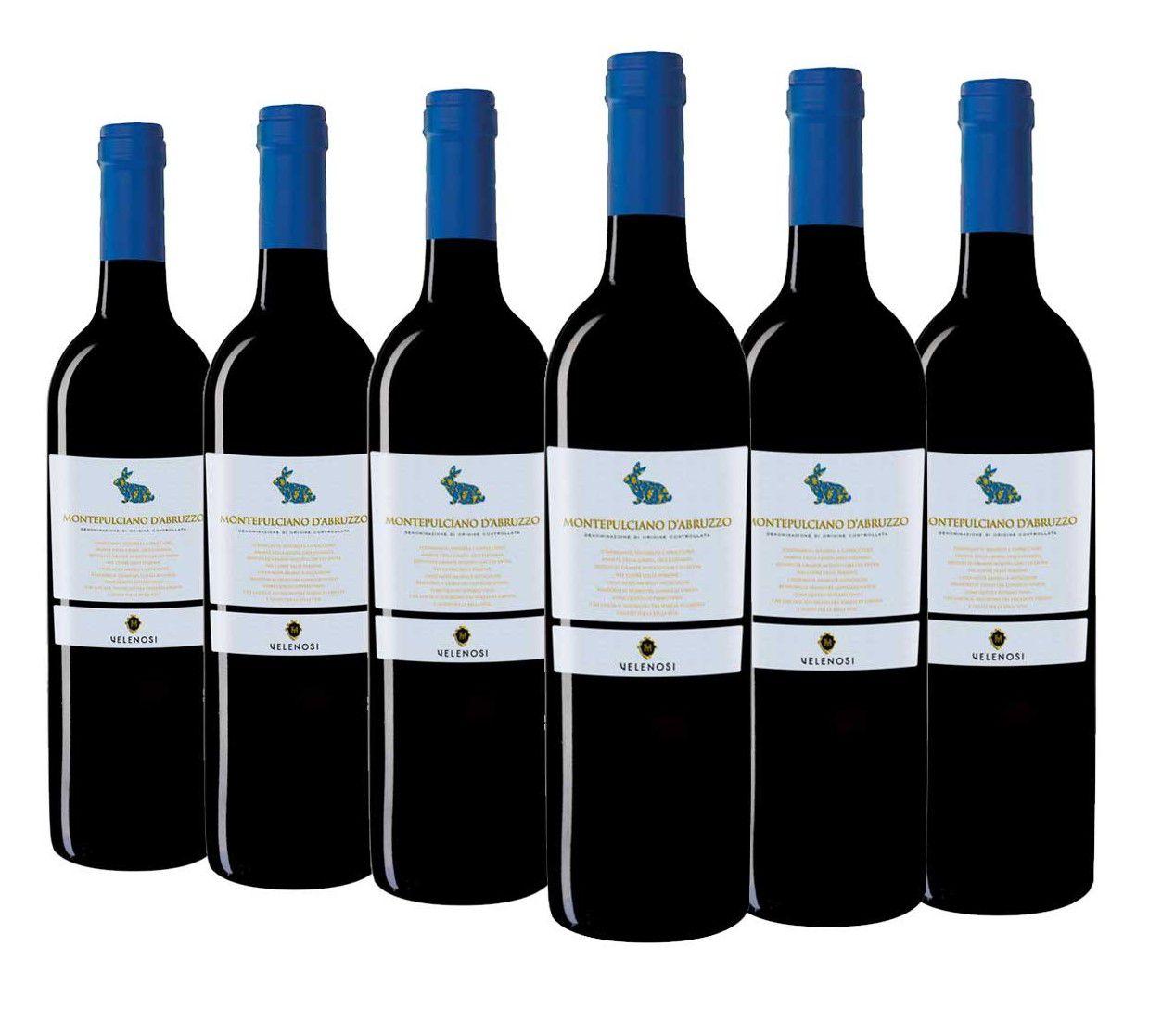 """Vinho Italiano Montepulciano D'Abruzzo """"Rabbit"""" DOC 2018 -  CAIXA COM 6 GARRAFAS"""