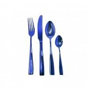 Faqueiro de Aço Inox Brilhante - 24 peças Azul