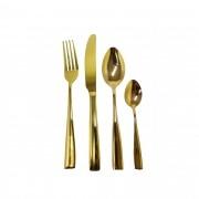 Faqueiro de Aço Inox Brilhante - 24 peças Dourado