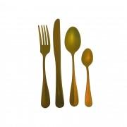 Faqueiro de Aço Inox Envelhecido - 24 peças Dourado