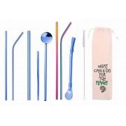 Kit 10 em 1 - Canudos variados em Inox Azul