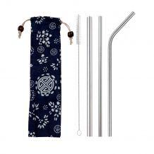 Kit 3 Canudos de Inox + Escova + Ecobag Estampada