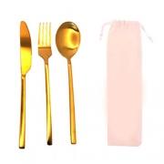 Kit 3 Talheres + Ecobag (Dourado)