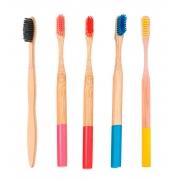 Kit 5 Escovas de Dentes de Bambu - Carvão e Coloridas