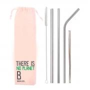 Kit 6 em 1- 4 Canudos de Inox + Escova + Ecobag Planet B (Shake 8mm)