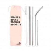 Kit 6 em 1 - 4 Canudos de Inox (Shake 12mm) + Escova + Bag Reuse