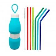 Kit Garrafa de Silicone Retrátil + Canudos de Vidro Coloridos