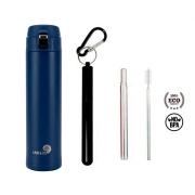 Garrafa Fast Click Azul Matte + Canudo Chaveiro Preto
