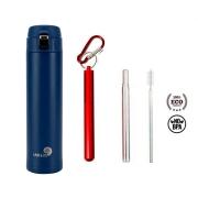 Garrafa Fast Click Azul Matte + Canudo Chaveiro Vermelho