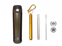 Garrafa Fast Click Marrom + Canudo Chaveiro Dourado