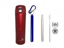 Garrafa Fast Click Vermelha + Canudo Chaveiro Azul