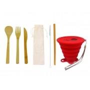 Kit Lixo Zero Bambu Simples Vermelho