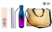 Kit Mundo Bolsa papel + garrafa Holográfica + kit 5 em 1 inox Rainbow