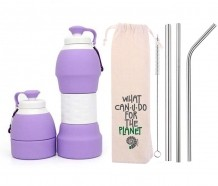 Kit Sustentável Garrafa de Silicone Roxo e Canudos de Inox