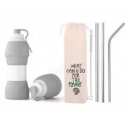 Kit Sustentável Garrafa de Silicone Cinza e Canudos de Inox