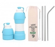 Kit Sustentável Garrafa de Silicone Azul e Canudos de Inox