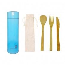 Kit Sustentável - Talheres de Bambu + Garrafa Térmica Smart 320 ml Az