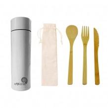 Kit Sustentável - Talheres de Bambu + Garrafa Térmica Smart 320 ml Br