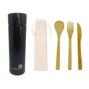 Kit Sustentável - Talheres de Bambu + Garrafa Térmica Smart 320 ml Pre