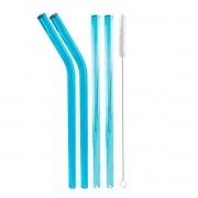 Kit 4 Canudos de Vidro Coloridos Shake 10mm + escova para limpeza