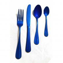 Talheres de Inox Envelhecido - 16 Peças Azul