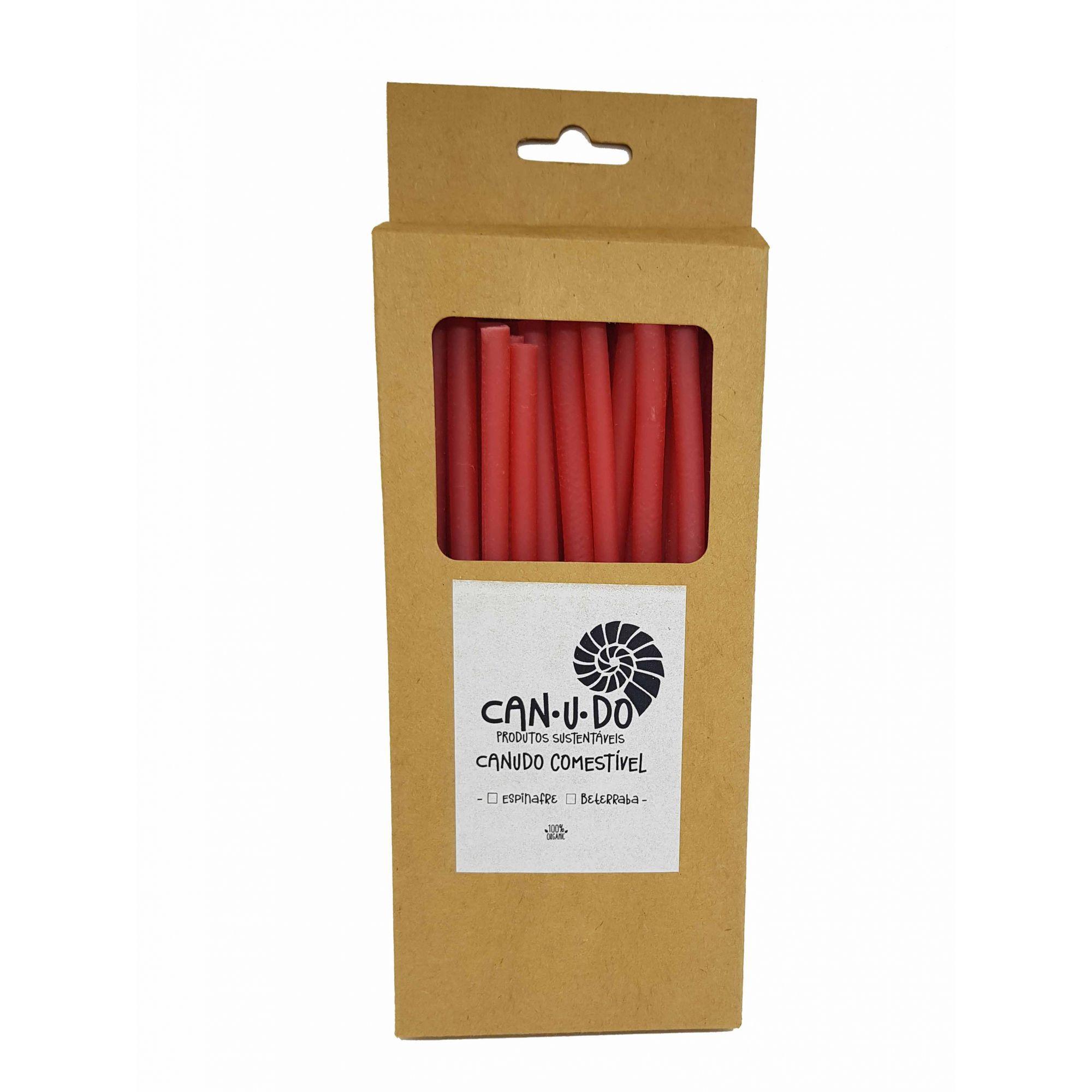 Caixa de Canudo Comestível Vermelho
