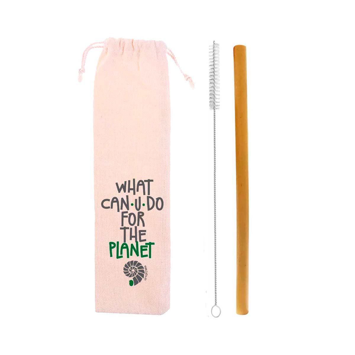 Canudo de Bambu + Escova + Ecobag