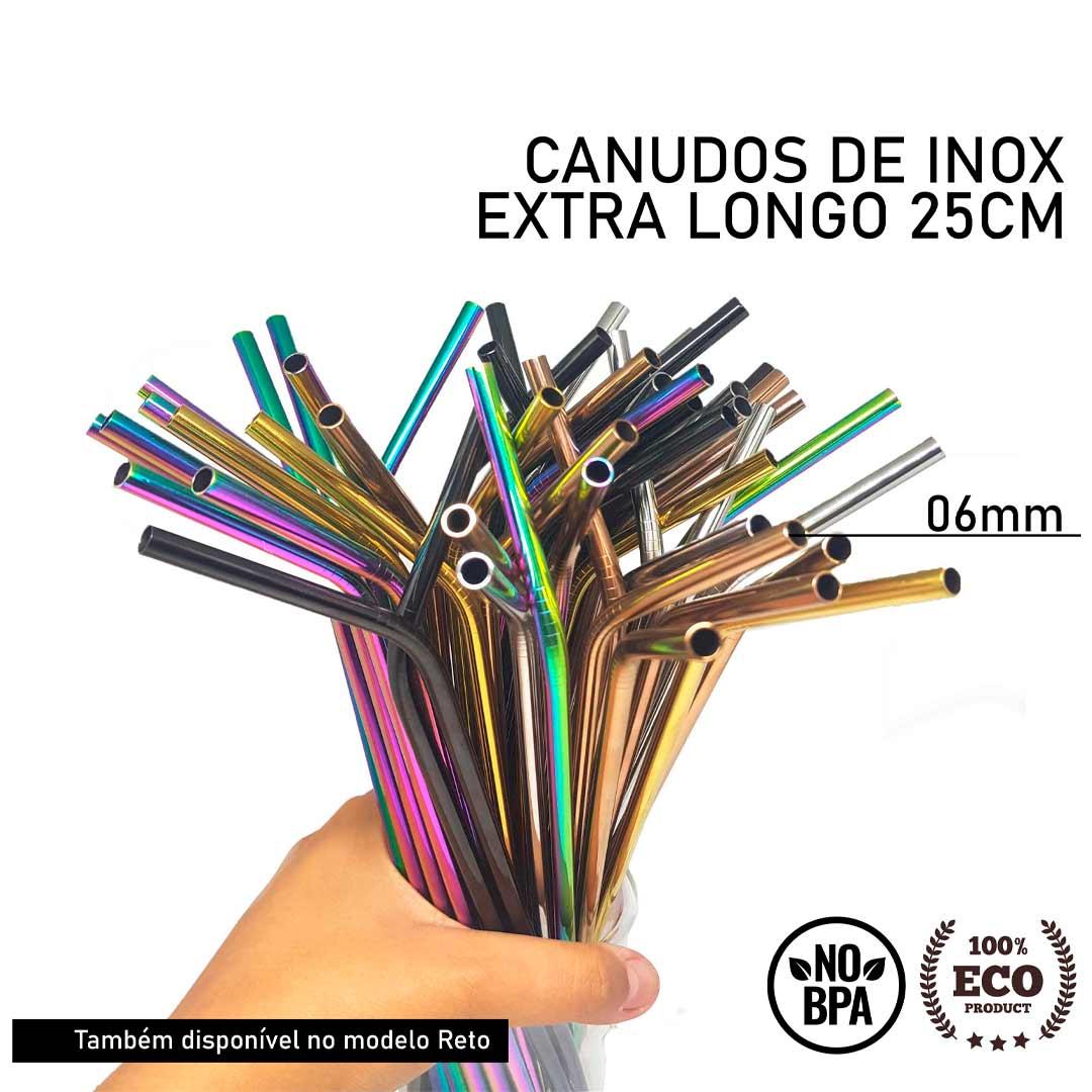 Canudo de Inox Colorido Curvo Extra Longo - 25cm