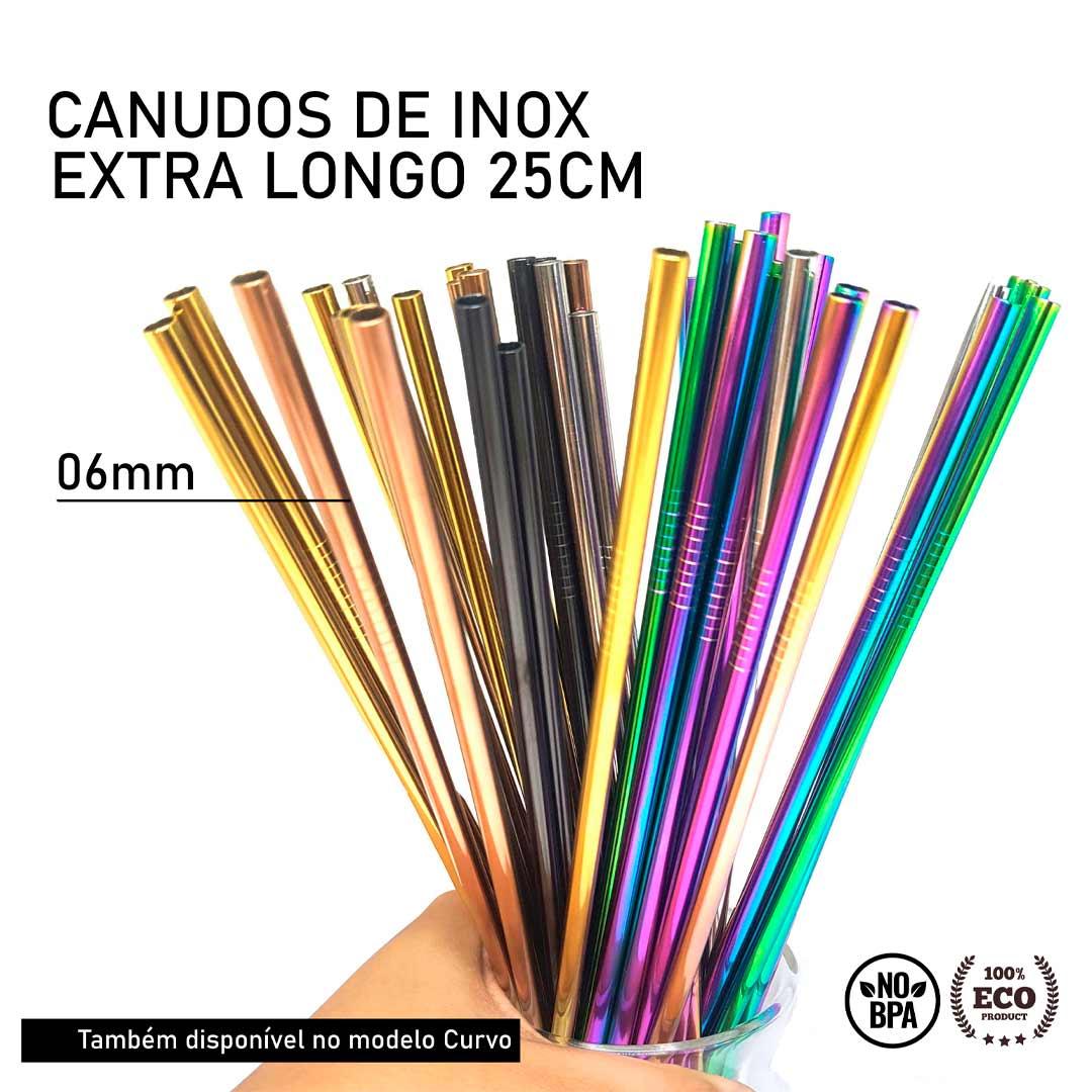 Canudo de Inox Colorido Reto Extra longo - 25cm