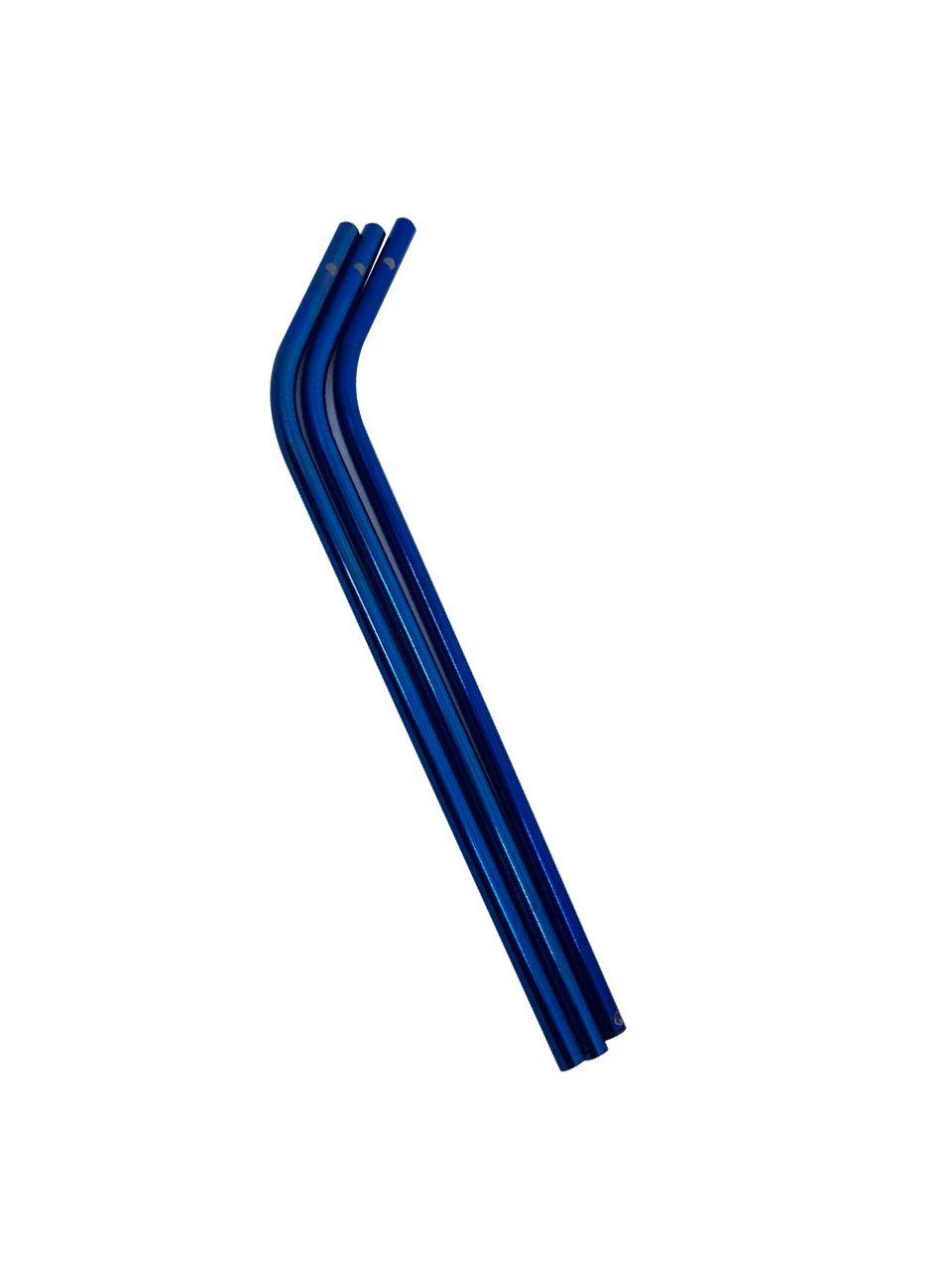Canudo de Inox Curvo Azul - OUTLET