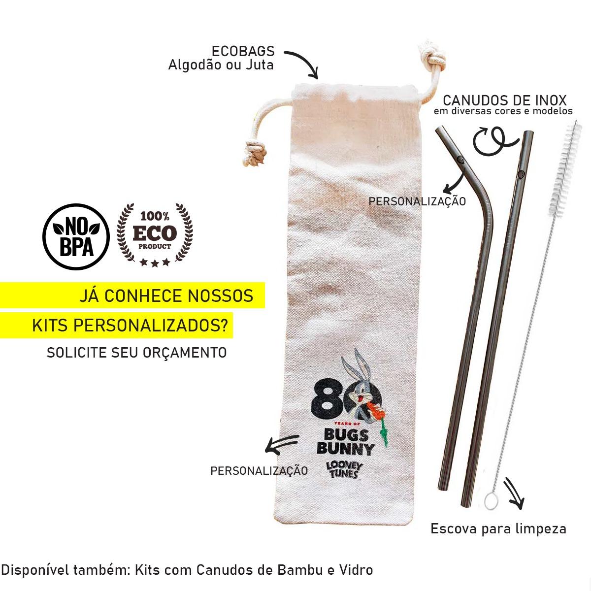 Canudo de Inox Curvo + Escova + Ecobag