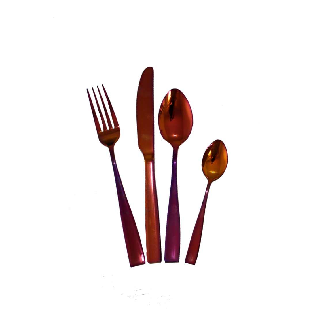Faqueiro de Aço Inox Brilhante - 24 peças Rose Gold